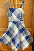 LORD AND TAYLOR WOMENS Luxury SLEEVELESS Navy Blue full skirt Plaid DRESS Size 6