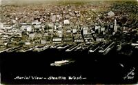Aerial View Seattle Washington 1940s Pictorial RPPC Real photo postcard 7971