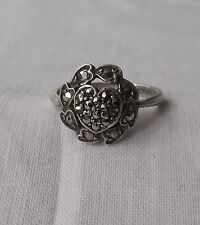 Beautiful Art Deco Silver Heart Ring with Marcasite Stones UK P US 8
