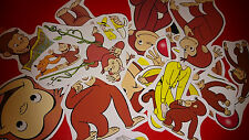 50 MINI CURIOUS GEORGE VINYL STICKERS PARTY BAG FILLERS