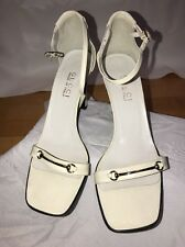 Gucci Sandals 8.5 Horsebit Rare Mini White Ankle Strap Heels Pumps Silver HW