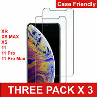 Premium Tempered Glass Screen Protector for iPhone XS XR 11 11 Pro Max (3 Packs)