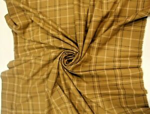 100% Pendleton Wool Olive, Black and Cream Plaid Fabric By The Yard