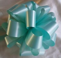 12 x Handmade Wedding Pew End Bows Florist Ribbon- MINT GREEN