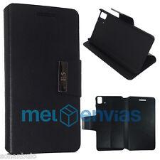Funda Carcasa Flip Cover NEGRA para BQ AQUARIS E5 FNAC PHABLET 2 HD FHD Soporte