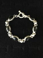 Vintage Sterling Silver Bracelet Black Onyx Oval Links Mexico Toggle Clasp 6.5""