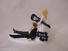 Wedding Party Reception Bride Groom Cake Topper Band Music Black Guitar Rock On