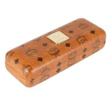 New MCM Munchen Signature Pattern Glasses Brown Leather Case with Cleaning Cloth