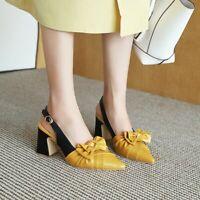 Fashion Womens Bowknot Slingback Heels High Block Pointy Toe Pumps Roman Shoe Sz
