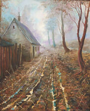 Original Oil Painting Bo Krank 1980 Denmark Danish Art Landscape Country Road