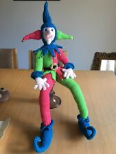Hand Crafted Jester Christmas Decorations Display Knitted Pink & Green & bells