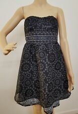 Free People Size 4 Black White Boho Strapless Floral Empire Waist Midi Dress