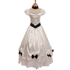 Women Vintage Victorian White Dress Reenactment Costume Ball Gown Dress