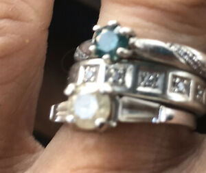 natural blue diamond ring sterling silver.35 tcw