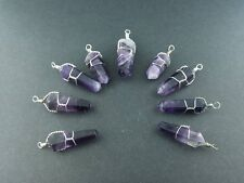 Wire Wrapped Amethyst Crystal Point Necklace Pendant 2 Per Lot