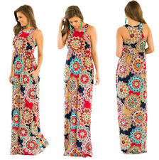 Plus Size Boho Womens Pocket Holiday Long Dress Ladies Summer Floral Maxi Dress