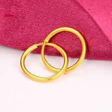 10mmWide  1 Pair Of 999 Solid 24k Yellow Gold Little Smooth Circle Hoop Earrings