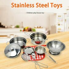 10PCS Mini Stainless Steel Kitchen Cookware Pots Pans Kid Pretend Cook Play Toys