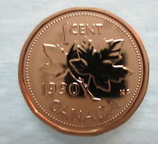1990 CANADA 1 CENT PROOF-LIKE PENNY COIN
