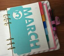 Monthly Tab Inserts for A5 Size Filofax Planner/Organizer