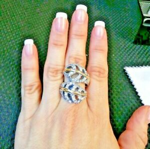 Divin 9k Gold Ring  hallmarked Sterling Silver & CZ