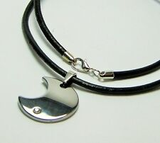 Men Tungsten Carbide 1 CZ stone inlay Pendant w/ 3mm Black Leather Necklace 20""