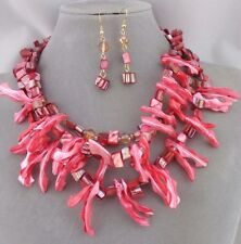 Layered Shell Coral Design Necklace Earrings Gold Set Fashion Jewelry NEW