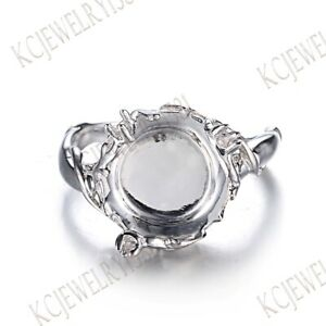 Round 10mm to 12mm Sterling Silver 925 Semi Mount Solitaire Fine Jewelry Ring