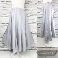 PER UNA M&S Linen A-Line Midi Grey Panelled Skirt Size 10 Lightweight Casual
