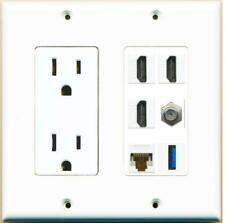 3 Port HDMI Coax Cat6 Ethernet USB Wall Plate w/Power Outlet White