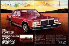 1979 FORD LTD Landau 4-door Sedan Vintage Original 2 page Print AD Red car art