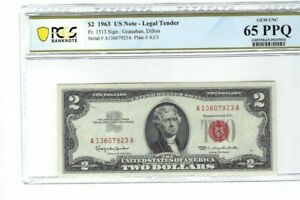 1963 $2 RED SEAL US NOTE PCGS 65 PPQ GEM UNCIRCULATED