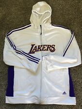 Los Angeles Lakers NBA Adidas Zip Front Jacket White 2XL Mens with Hood