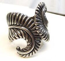 Vtg Sterling Silver Los Castillos Clamper Cuff Bracelet Signed Mexico Heavy Leaf