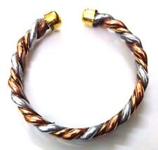 Flat Twisted Copper Bracelet Cuff Wristlet Wristband Kada Kara Men Women Unisex