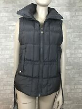 Betsey Johnson Small Charcoal Gray Quilted Pom Pom Puffer Vest w/ Pockets & Zips