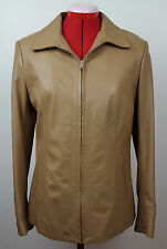 Vera Pelle ZIP Alta Moda Firenze Italy Light Brown Lined Leather Jacket 44 8 US