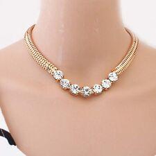 Fashion Jewel Shiny Rhinestone Inlay Gold Tone Metal Adjustable Collar Necklace