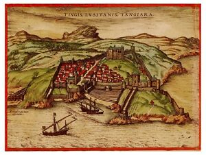 Tangier Tetouan Morocco Maghreb Africa bird's-eye view map Hogenberg ca.1572