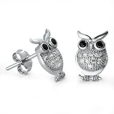 USA Seller Owl Stud Earrings Sterling Silver 925 Birds Best Price Jewelry Black