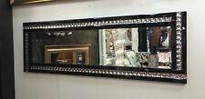 Full Length ArtDeco Acrylic Crystal Glass Design Bevelled Mirror 120x40cm Black