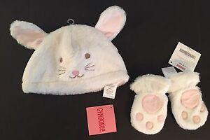 NWT Gymboree Snow Princess 0-12 Months Faux Fur Bunny Hat & Mittens