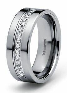New Men's Tungsten Carbide Diamond wedding band Ring 0.22 carat +2 year Warranty