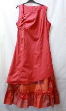 Robe longue rouge orangé drapé et superposé t. 40