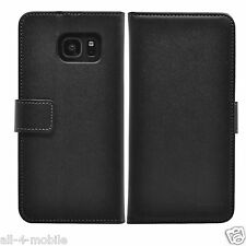 Wallet BLACK Leather Flip Case Cover For Samsung Galaxy S7 Edge + 2 protectors