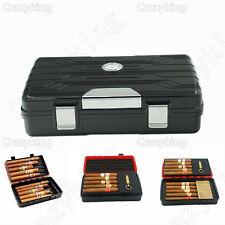 Black Double-Deck Multifunction Travel Cigar Humidor Humidifier Punch Cohiba