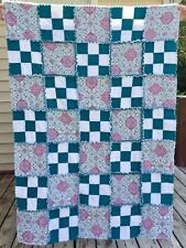 """New Handmade Rag Quilt Lap Throw 44 X 64"""" Snuggle Flannel Soft - Pink Teal White"""