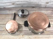 Vintage Revere Ware 1 QT Sauce Pan w/ Lid & 4.5 Stock Pot Copper Bottom 1801 EUC