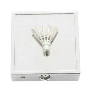 Badminton Shuttlecock Square Pill Trinket Box Chrome with Mirror Gift 538