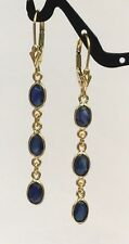 14k Solid Yellow Gold Leverback 3 Stones Dangle Earrings,Natural Sapphire 1.5TCW